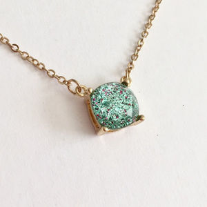 Jewelry - Mint Green and Magenta Glitter Pendant Necklace